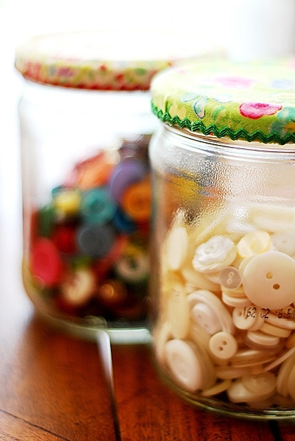 Pretty Jars for Organizing Sewings Notions