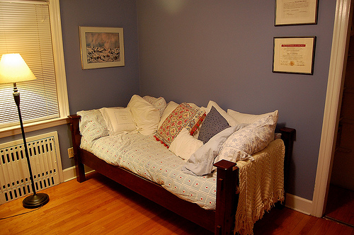 Daybed in guest bedroom sharing space with office