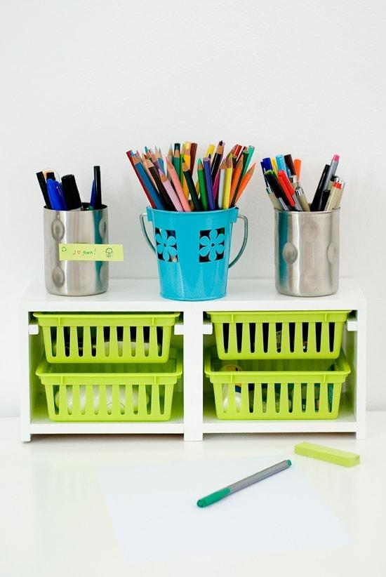 Mini-hutch for Desk Organization - Ikea Hack