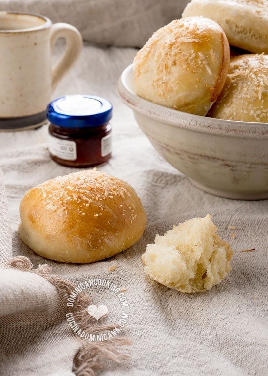Pan de Coco Levado Recipe (Leavened Coconut Bread Rolls): a soft melt-in-your mouth bread, perfect for a tropical-inspired breakfast or light dinner.