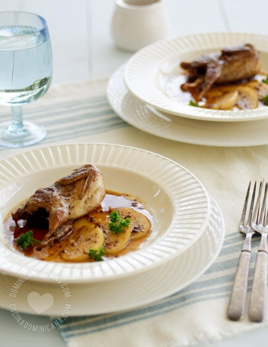 Quail with Rum and Apple - Recipe: inspired by our custom of adding rum to some dishes, which make this incredibly good.