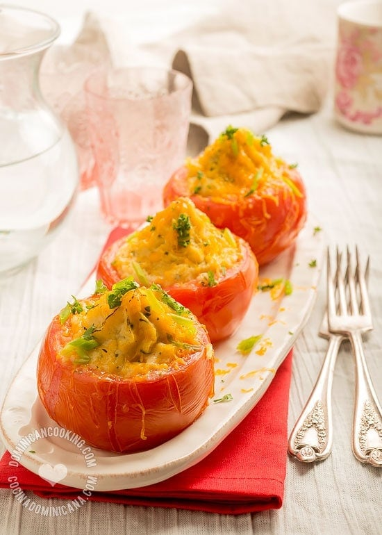 Tomatoes Stuffed with Cheese and Mashed Potatoes Recipe : Loved these roasted tomatoes filled with cheesy herbed potatoes.