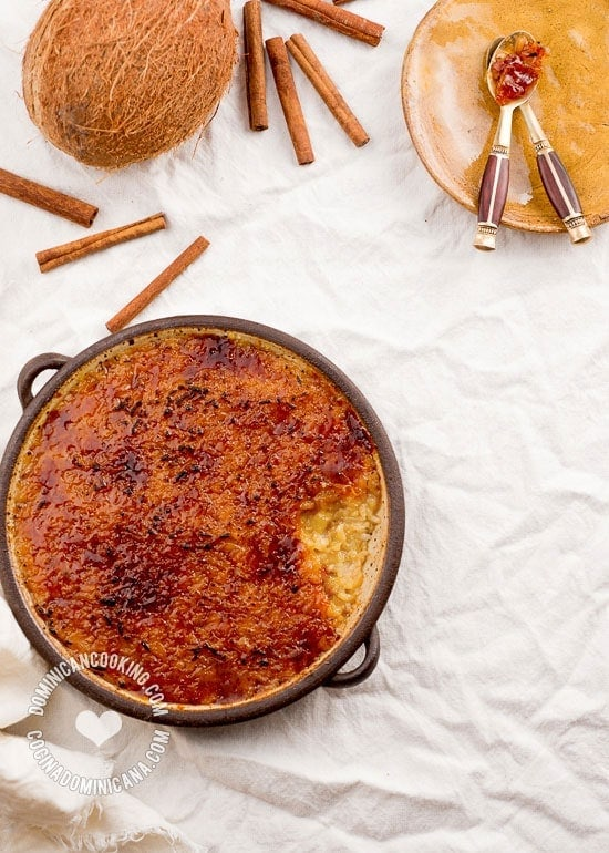 Coconut Rice Pudding Brûlée Recipe: I have added coconut to my mom's rice pudding, and added a bit of French flair for a dish that is simple yet refined.