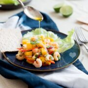 Shrimp mango ceviche plate drizzled with olive oil