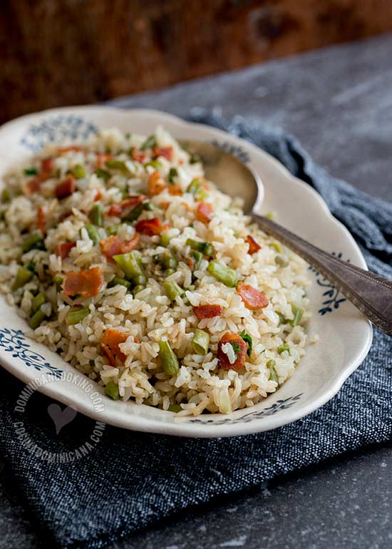 Brown Rice Pilaf with String Beans and Bacon Recipe: If you ever felt unsure about brown rice, I might have found the way to convince you to try it!