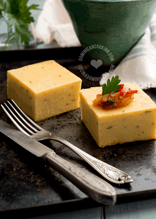 Arepa Salada Recipe (Dominican Savory Cornbread): This dense, smooth cornbread is one of our best loved dishes, and can be served as breakfast or side dish.