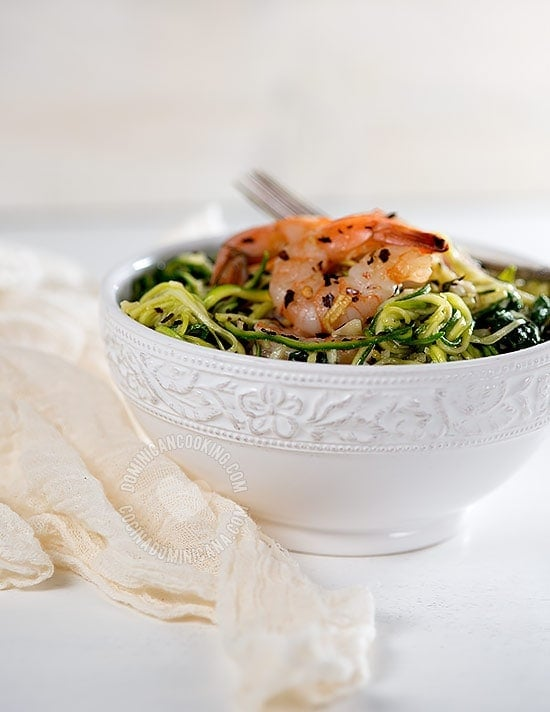 Zucchini Noodles with Garlicky Shrimp - Recipe & Video