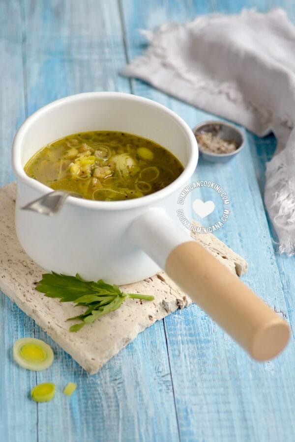 Pot of Aguají (Rustic Dominican Plantain Soup)