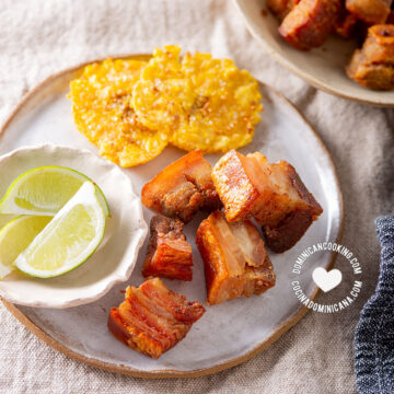 Air fryer chicharrones with tostones and lemon wedges