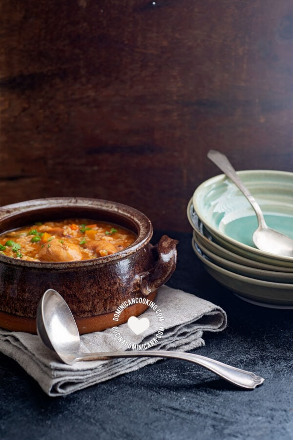 Pot of Asopao de Pollo (Chicken and Rice Pottage)