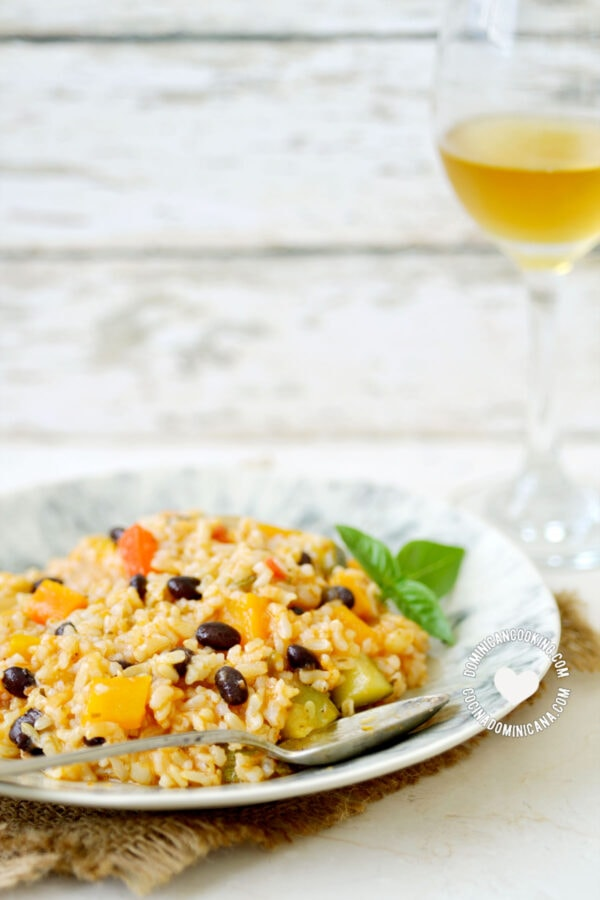 Brown Rice Asopao with White Wine Glass