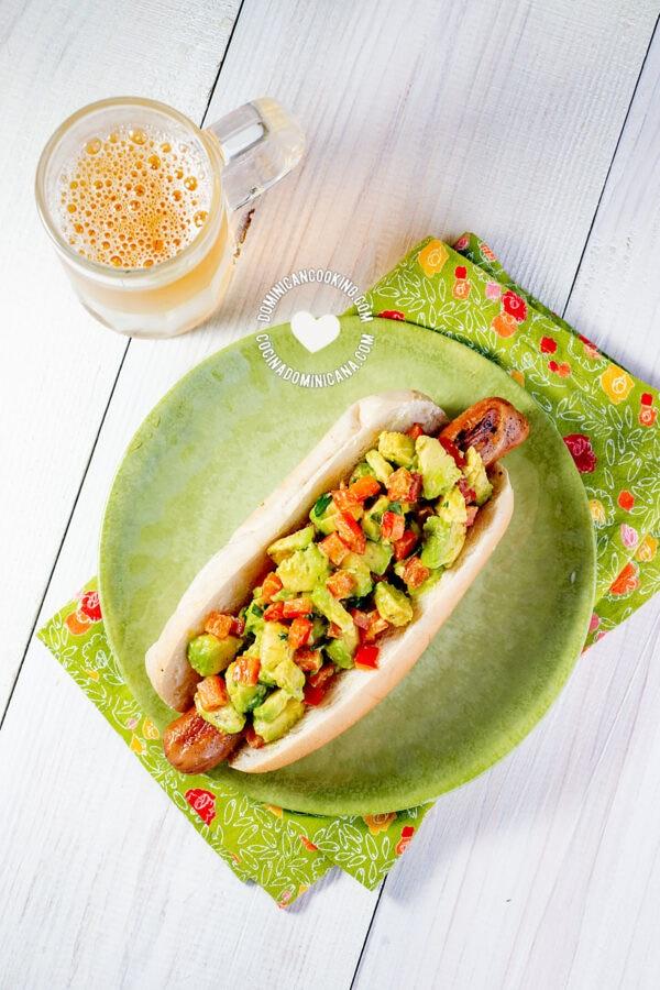 guacamole avocado hot dog