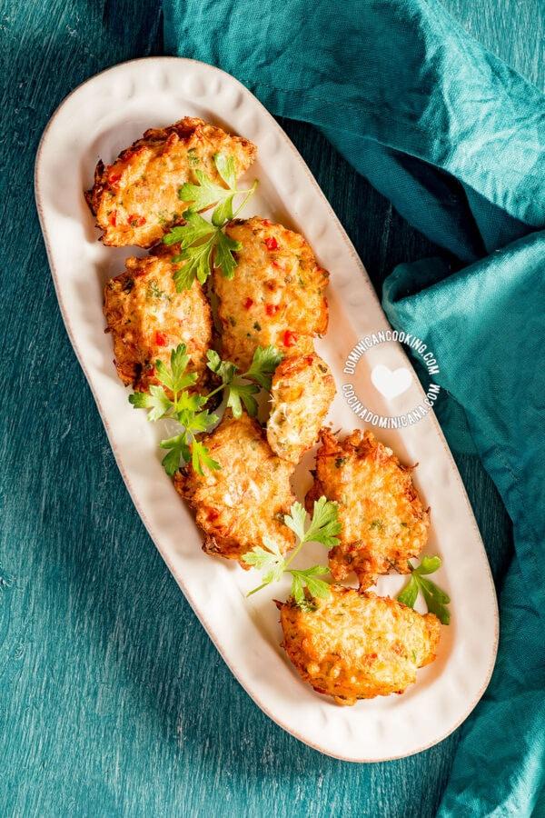 Plate with bacalaitos fritos (codfish saltfish fritters)