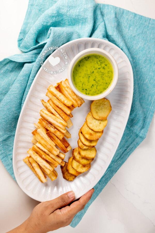 Yuca and batata fritas