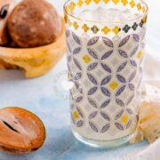Glass of Batida de Níspero (Sapodilla Milkshake)