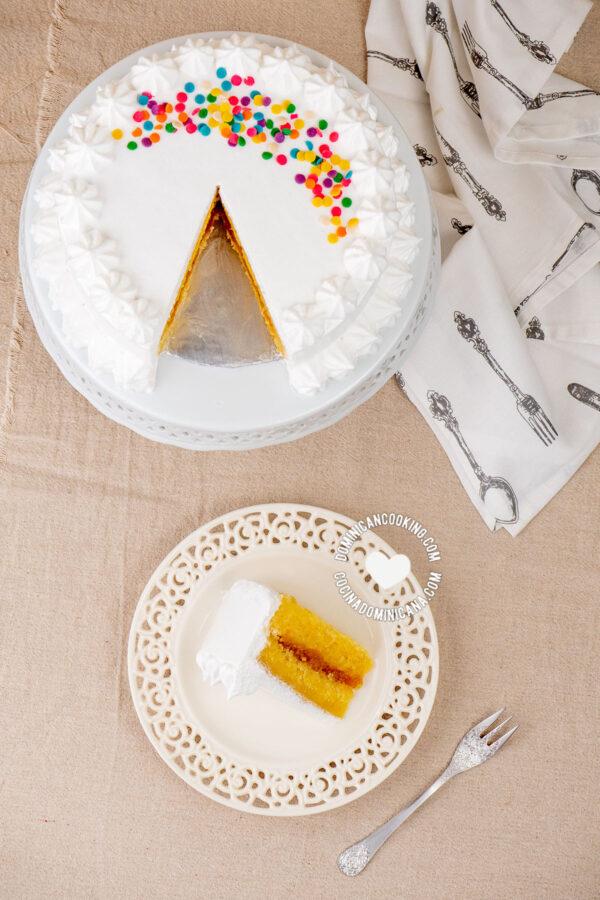 Bizcocho Dominicano (Dominican Cake) with cut slice