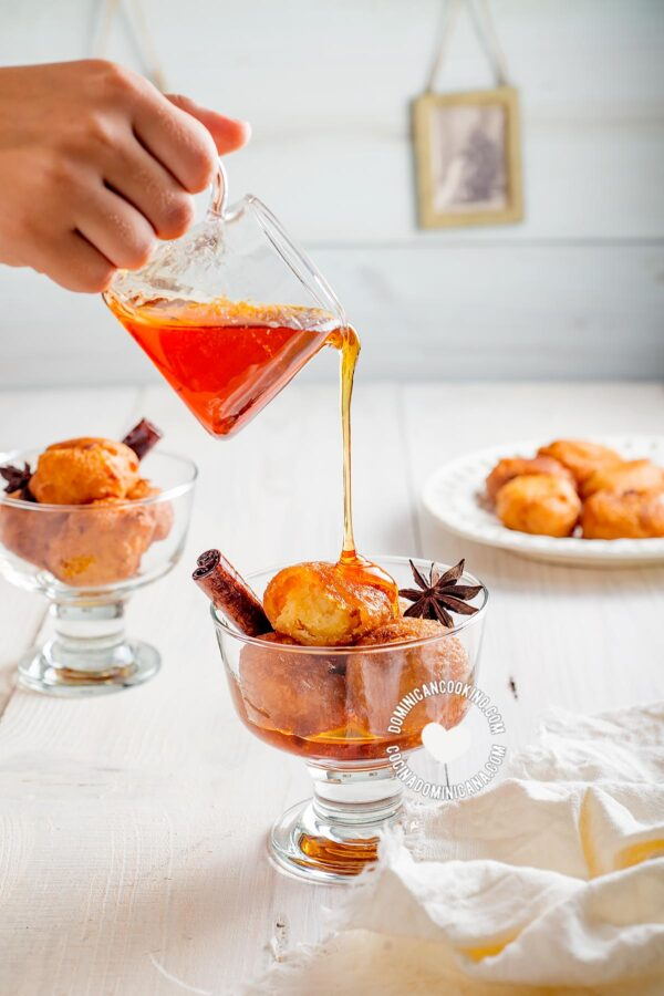 Buñuelos de Yuca (Cassava Sweet Puff Fritters with Spiced Syrup)
