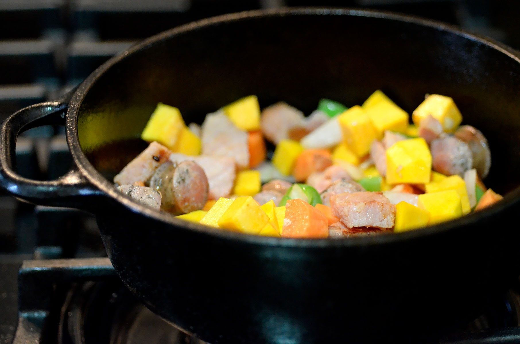 Pot with meat and vegetables
