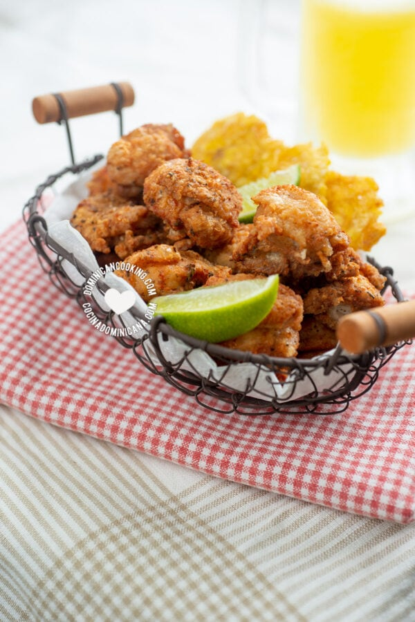 dominican fried chicken with tostones