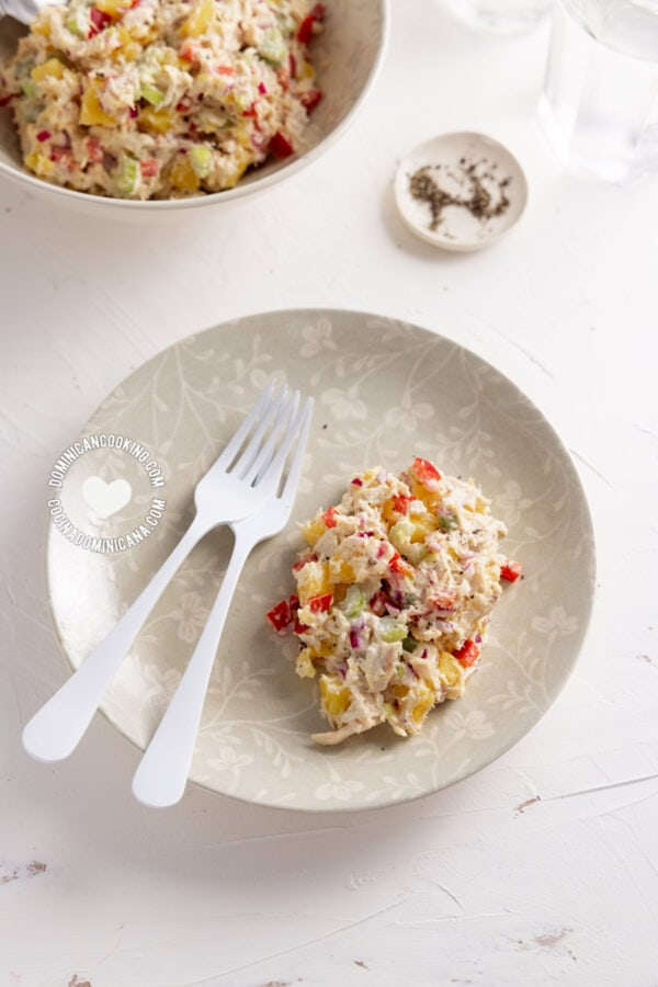 Plate of chicken and potato salad with mayo