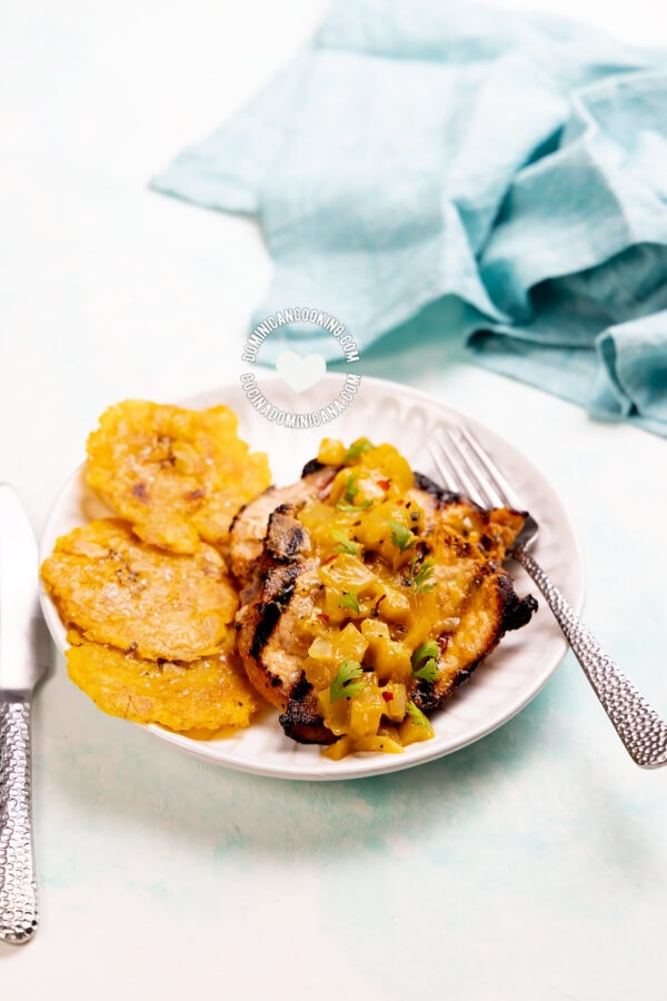 Pork Chops with Green Mango Salsa and Tostones