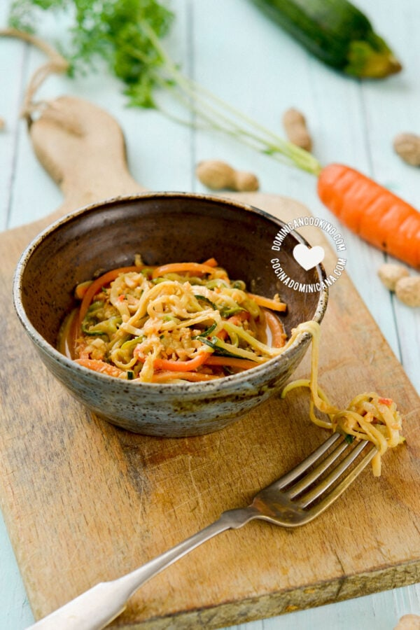 Small Bowl of Asian-Inspired Cold Peanut Zoodles