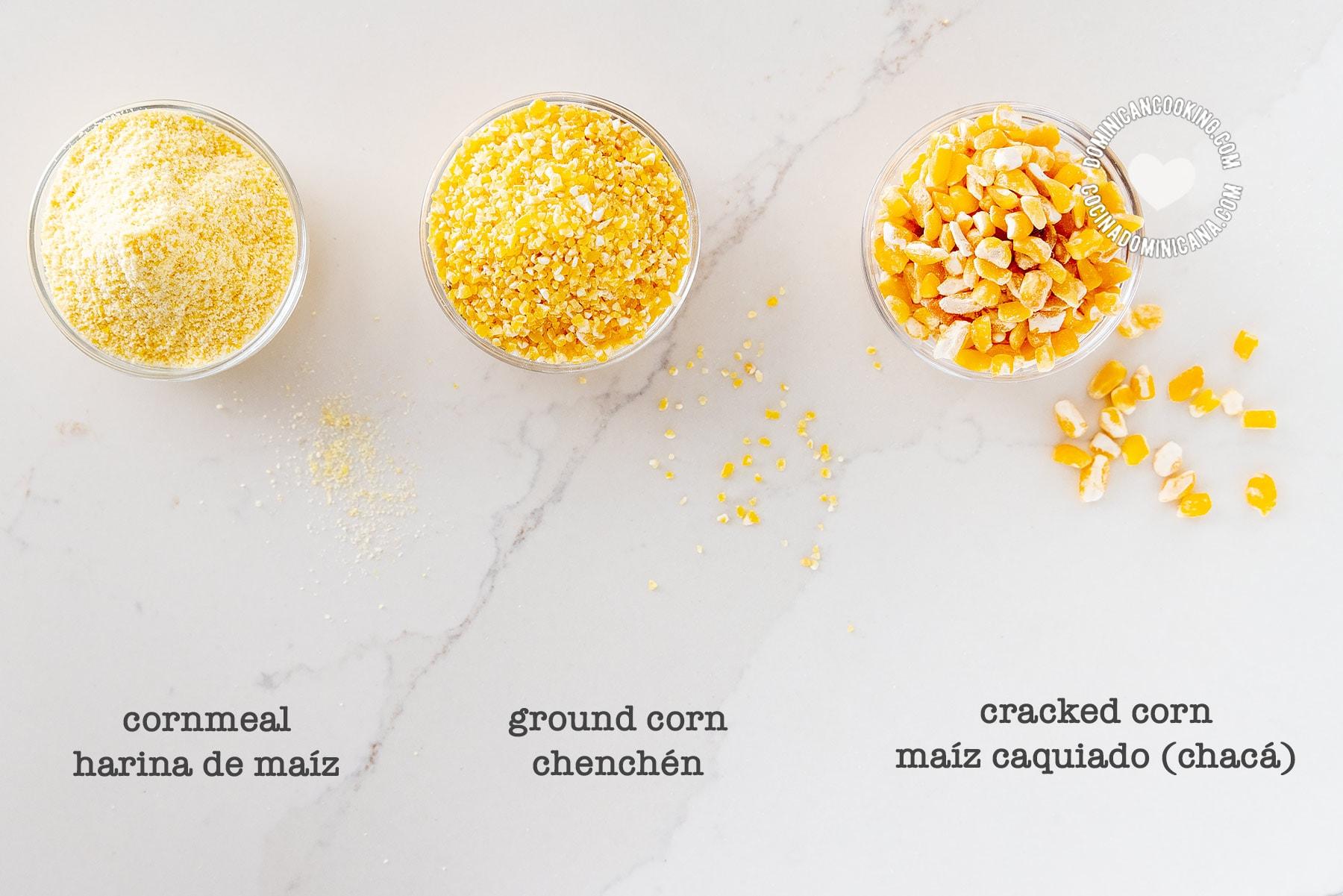 Cornmeal, and ground corn (harina de maíz)