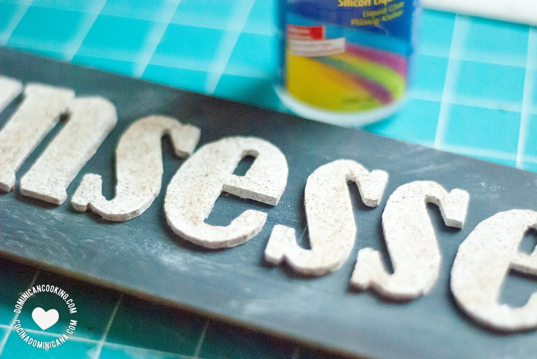 Glueing the letters.