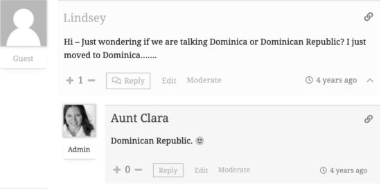 "Screenshot text conversation. - Question: ""Hi. Just wondering if we are talking about Dominica or Dominican Republic? I just moved to Dominica..."" Reply: ""Dominican Republic (smiling emoji)""."