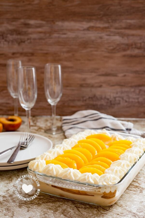 Dulce Frío (Dominican Trifle) on Table setting