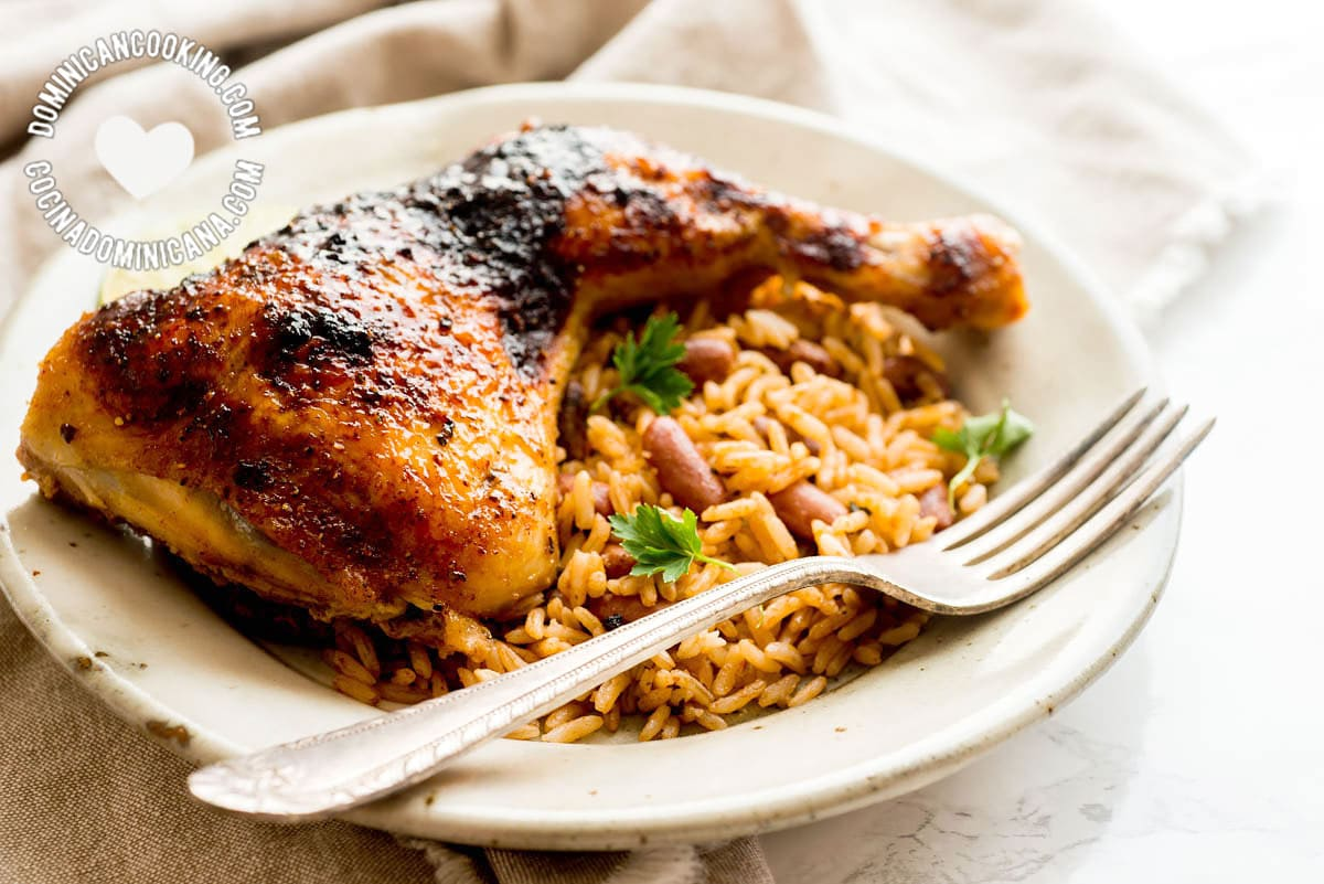 Serving Jerk Chicken with Rice and Beans