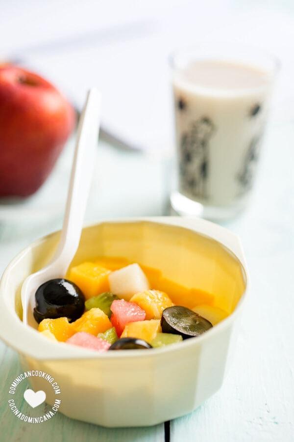 School snack, fruit and milk