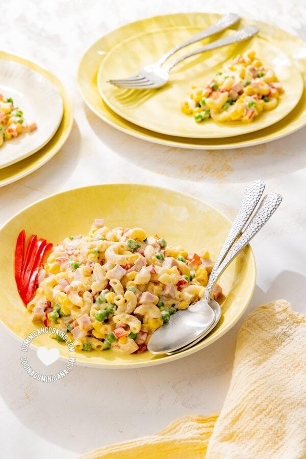 Plates with Ensalada de Coditos (Elbow Pasta Salad)