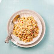 Plate with Ensalada de Coditos (Elbow Pasta Salad)