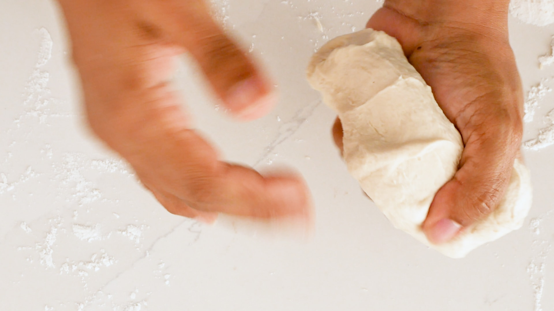 Working dough with the hands