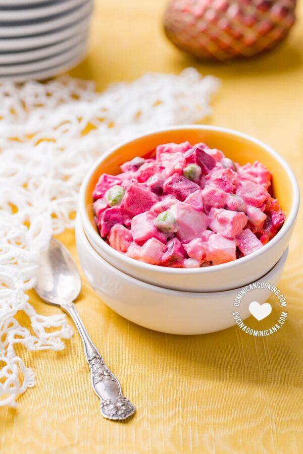Bowl of Ensalada Rusa with Beet (Potato Salad)