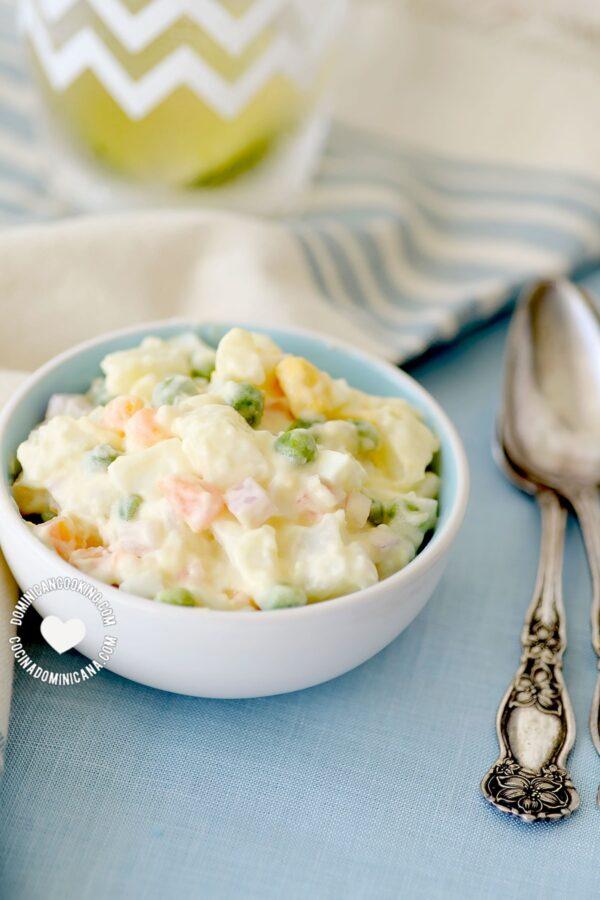 Bowl of Ensalada Rusa with Apple (Christmas to Salad)