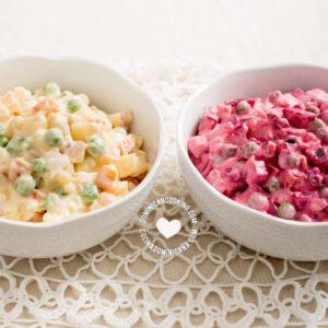 "Two bowls of Ensalada Rusa (""Russian"" Potato Salad)"