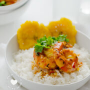 Shrimp with Coconut and Ginger Sauce on Rice and Tostones