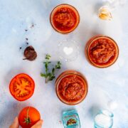 Tomato sauce jars and ingredients