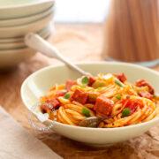 Bowl of Dominican spaghetti