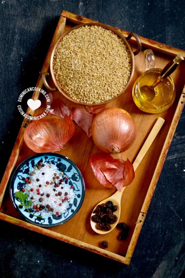 Ingredients for Dominican kipe (kibbeh)