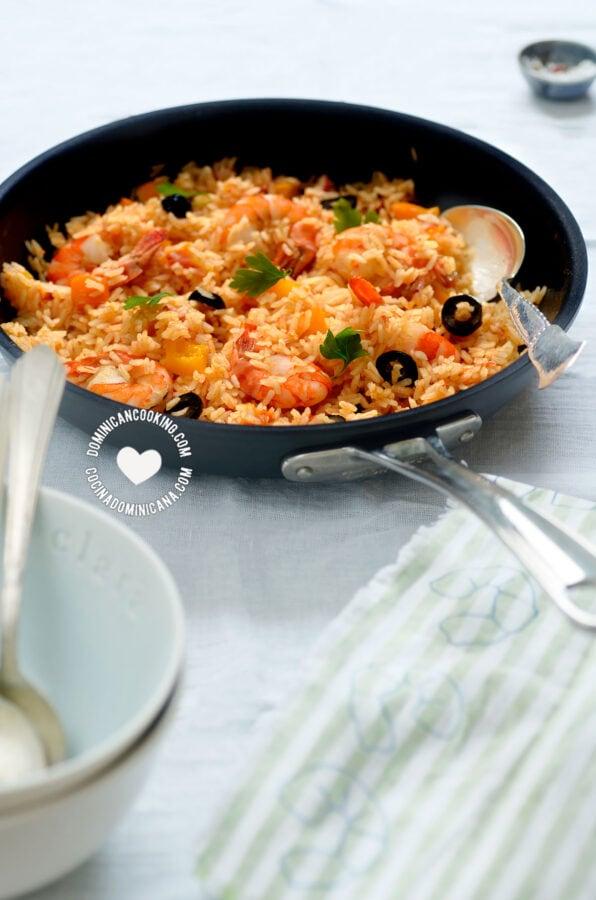 Skillet with Locrio de Camarones (Dominican Rice and Shrimp)
