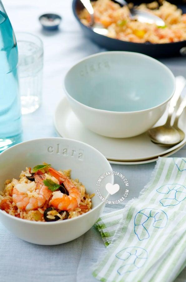 Locrio de Camarones in a bowl (Dominican Rice and Shrimp)
