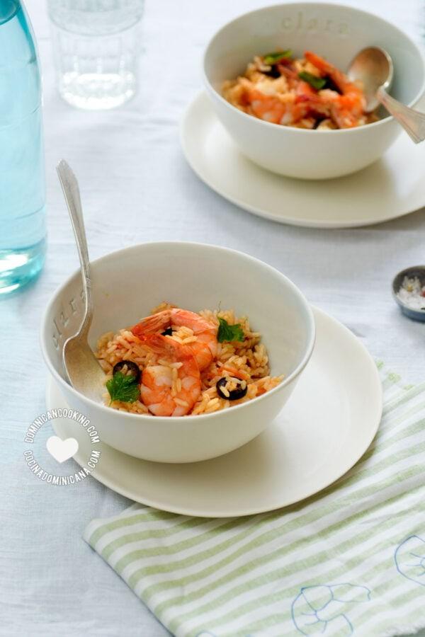 Two bowls with Locrio de Camarones (Dominican Rice and Shrimp)