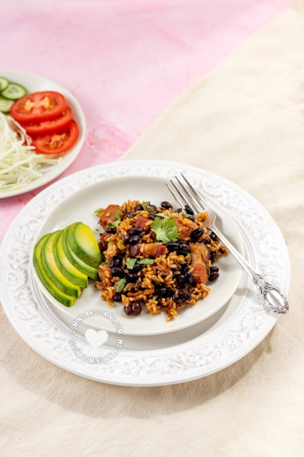 Moro-Locrio de Chuleta (Dominican  Black Beans, Rice, and Pork)