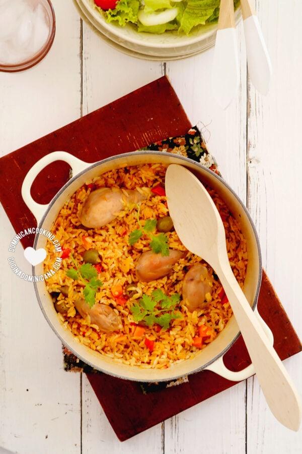 Plate of Locrio de Pollo in a Pot (Rice and Chicken)