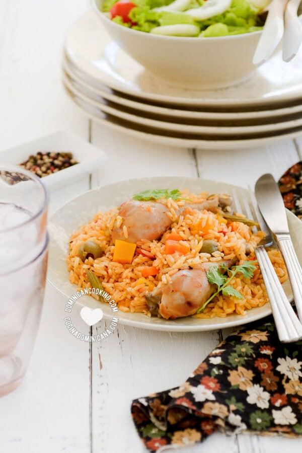 Plate of Locrio de Pollo (Rice and Chicken)
