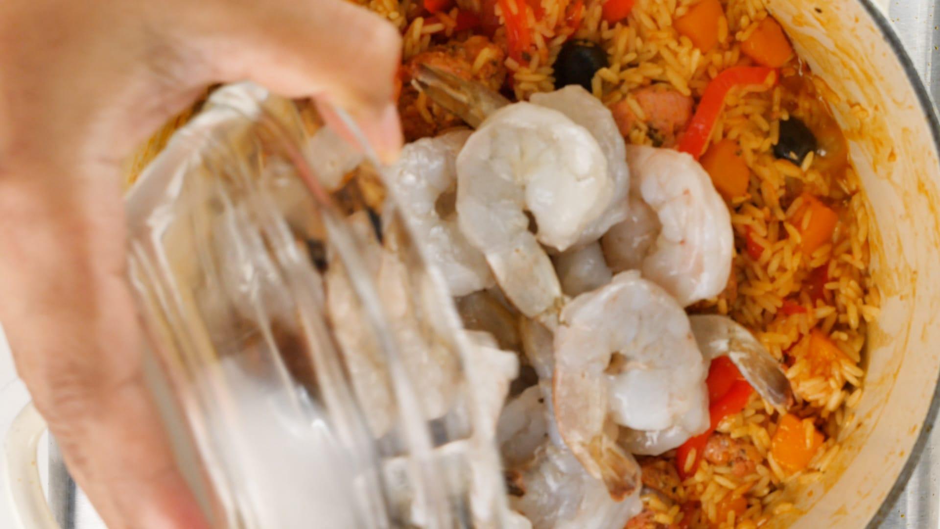 Adding shrimp