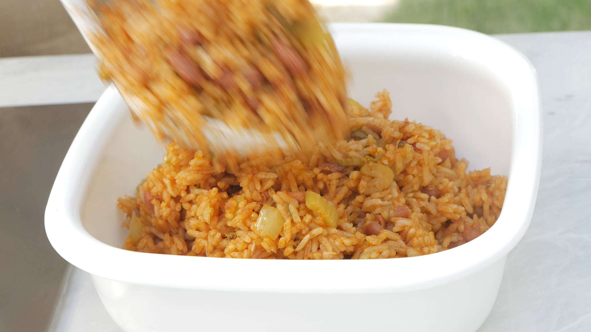 Serving moro (rice with beans)